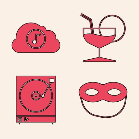Set Festive mask , Music streaming service , Martini glass  and Vinyl player with a vinyl disk  icon. Vector