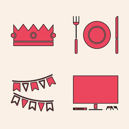 Set Video game console , Crown , Plate, fork and knife  and Carnival garland with flags  icon. Vector Banque d'images - 140068979
