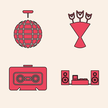 Set Home stereo with two speakers , Disco ball , Bouquet of flowers  and Retro audio cassette tape  icon. Vector Ilustracja