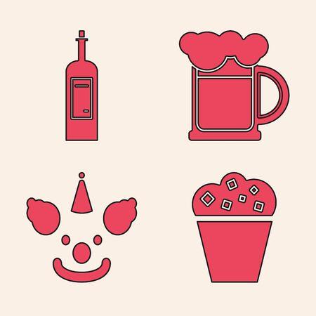 Set Popcorn in cardboard box , Bottle of wine , Wooden beer mug and Clown head icon. Vector
