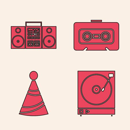 Set Vinyl player with a vinyl disk , Home stereo with two speakers , Retro audio cassette tape  and Party hat  icon. Vector