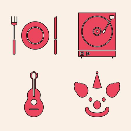 Set Clown head , Plate, fork and knife , Vinyl player with a vinyl disk  and Guitar  icon. Vector Illustration