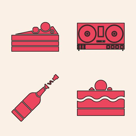 Set Cake , Cake , DJ remote for playing and mixing music  and Champagne bottle  icon. Vector Illustration