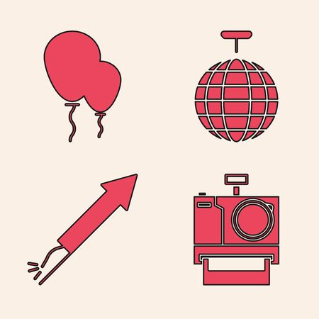 Set Photo camera , Balloons with ribbon , Disco ball  and Firework rocket  icon. Vector