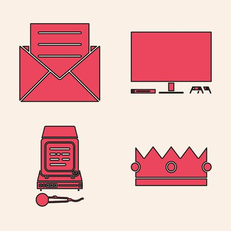 Set Crown , Envelope with invitation card , Video game console  and Karaoke  icon. Vector Banque d'images - 140069017