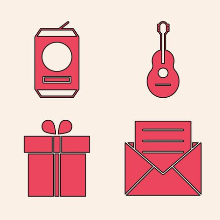 Set Envelope with invitation card , Beer can , Guitar  and Gift box  icon. Vector