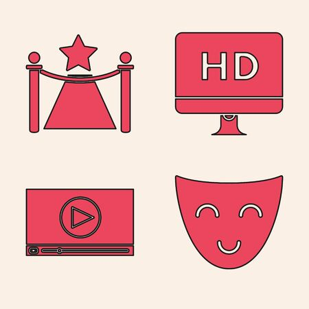 Set Comedy theatrical mask , Carpet with barriers and star , Computer PC monitor with HD video technology and Online play video icon. Vector