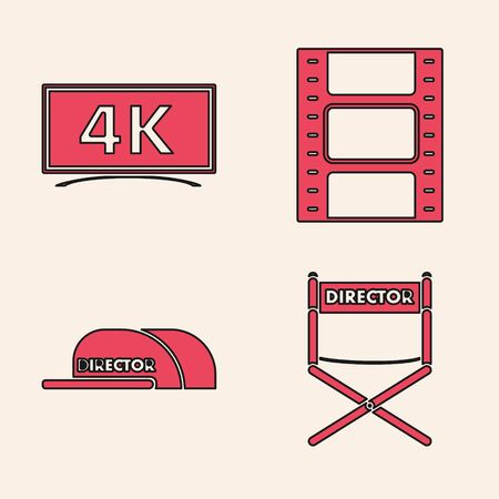 Set Director movie chair , Screen tv with 4k Ultra HD video technology , Play Video  and Cap with inscription director  icon. Vector