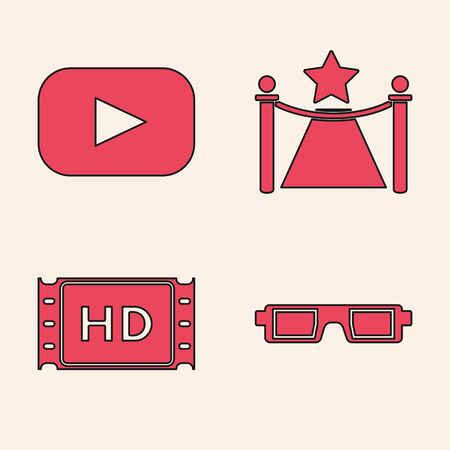 Set 3D cinema glasses , Play , Carpet with barriers and star and 4k movie, tape, frame icon. Vector Ilustracja