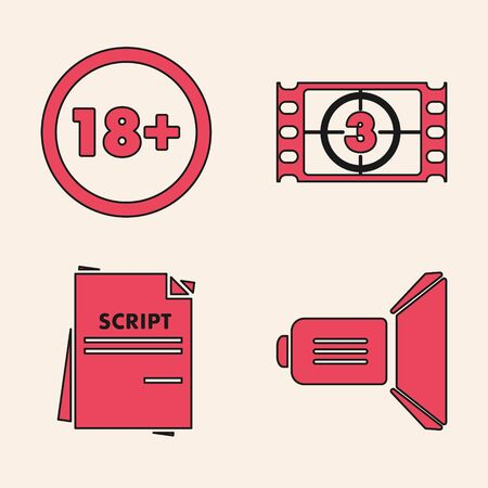 Set Movie spotlight , Under 18 years, Play Video  and Scenario  icon. Vector Illustration