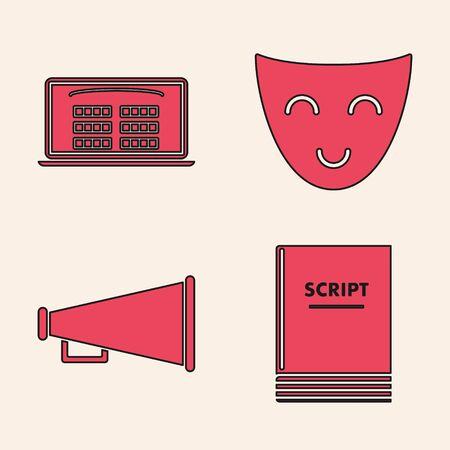 Set Scenario , Buy cinema ticket online , Comedy theatrical mask and Megaphone icon. Vector Иллюстрация
