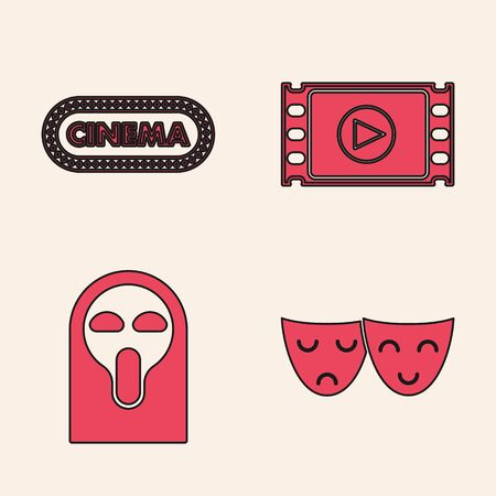 Set Comedy and tragedy theatrical masks , Cinema poster design template , Play Video and Funny and scary ghost mask icon. Vector  イラスト・ベクター素材