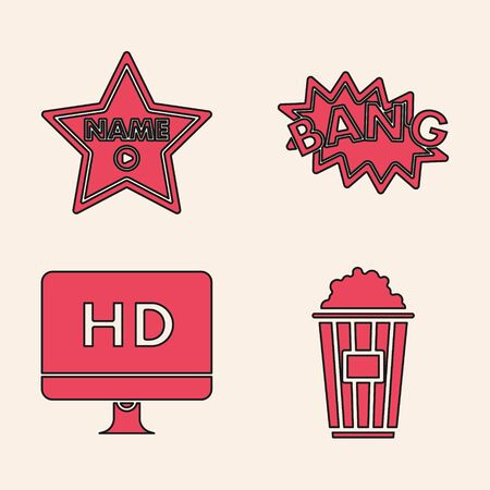 Set Popcorn in cardboard box , Hollywood walk of fame star on celebrity boulevard , Bang boom text speech bubble balloon and Computer PC monitor with HD video technology icon. Vector