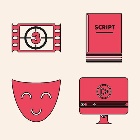Set Online play video , Play Video , Scenario and Comedy theatrical mask icon. Vector