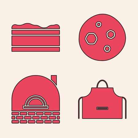 Set Kitchen apron , Brownie chocolate cake , Cookie or biscuit with chocolate and Brick stove icon. Vector