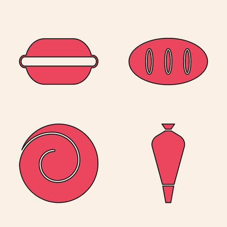 Set Pastry bag for decorate cakes, Macaron cookie , Bread loaf and Roll bun with cinnamon icon. Vector