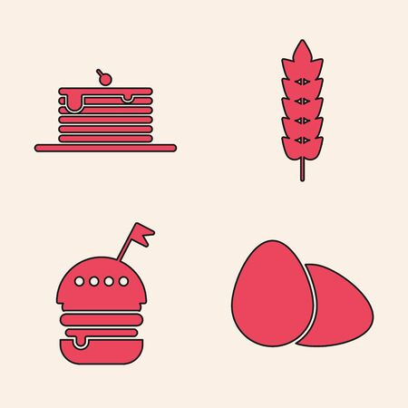 Set Chicken egg , Stack of pancakes , Cereals with rice, wheat, corn, oats, rye and Burger icon. Vector