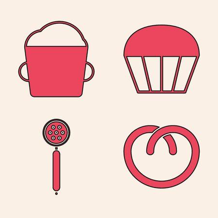 Set Pretzel , Bakery bowl dough , Muffin and Strainer spoon icon. Vector Vettoriali