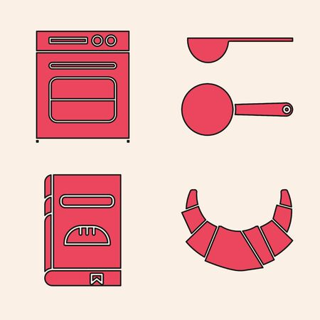 Set Croissant , Oven , Measuring spoon and Cookbook icon. Vector