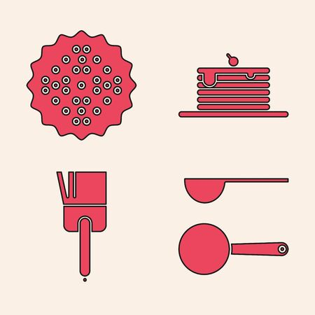 Set Measuring spoon , Cracker biscuit , Stack of pancakes and Kitchen brush icon. Vector