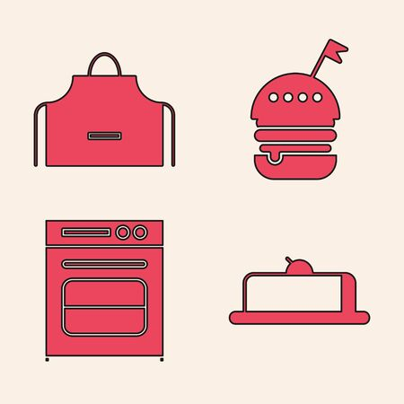 Set Strawberry cheesecake slice, Kitchen apron , Burger and Oven icon. Vector Illustration