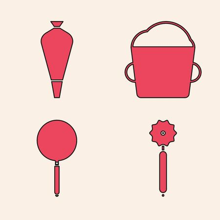Set Pizza knife , Pastry bag for decorate cakes, Bakery bowl dough and Frying pan icon. Vector