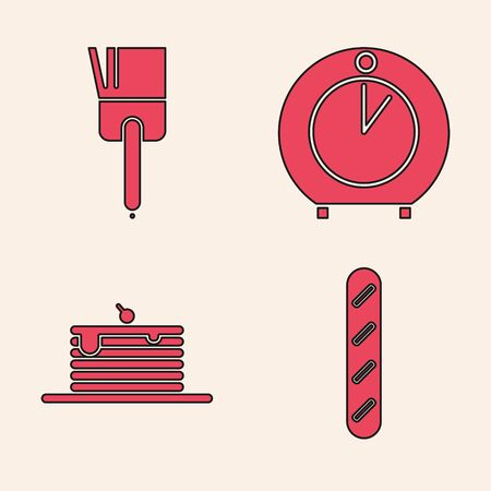 Set French baguette bread , Kitchen brush , Kitchen timer and Stack of pancakes icon. Vector Ilustração