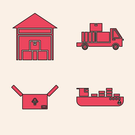 Set Cargo ship with boxes delivery service , Warehouse , Delivery truck with cardboard boxes and Cardboard box with traffic symbol icon. Vector Illustration
