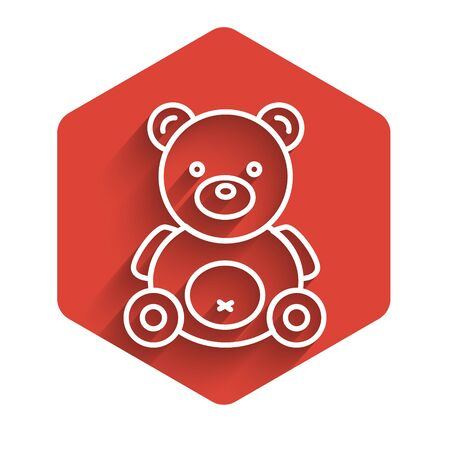 White line Teddy bear plush toy icon isolated with long shadow. Red hexagon button. Vector Illustration