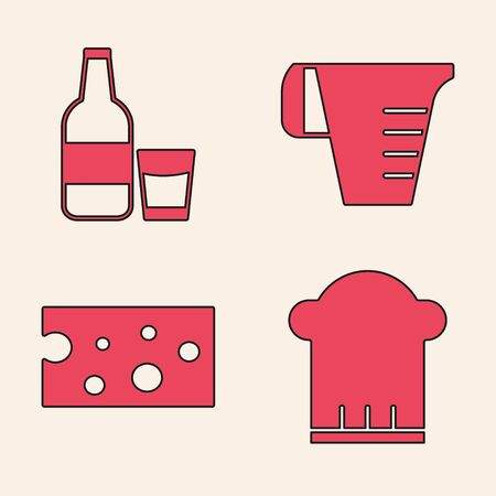 Set Chef hat , Glass bottle with milk and glass , Measuring cup and Cheese icon. Vector Foto de archivo - 140069643