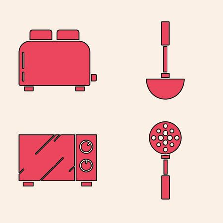 Set Spatula , Toaster with toasts , Kitchen ladle and Microwave oven icon. Vector