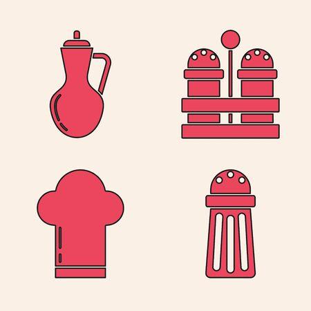 Set Salt , Bottle of olive oil , Salt and pepper and Chef hat icon. Vector Foto de archivo - 140069494