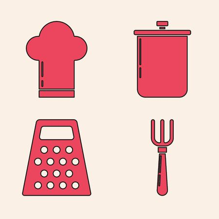 Set Fork , Chef hat , Cooking pot and Grater icon. Vector Foto de archivo - 140072475