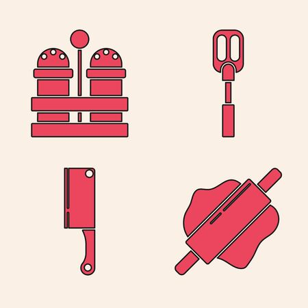 Set Rolling pin , Salt and pepper , Spatula and Meat chopper icon. Vector Vettoriali