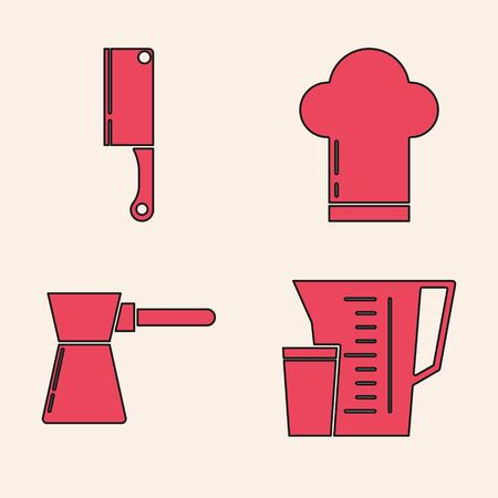 Set Measuring cup, Meat chopper , Chef hat and Coffee turk icon. Vector Foto de archivo - 140069474