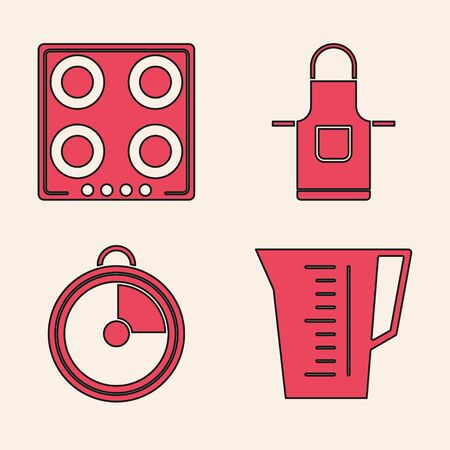Set Measuring cup, Gas stove , Kitchen apron and Kitchen timer icon. Vector