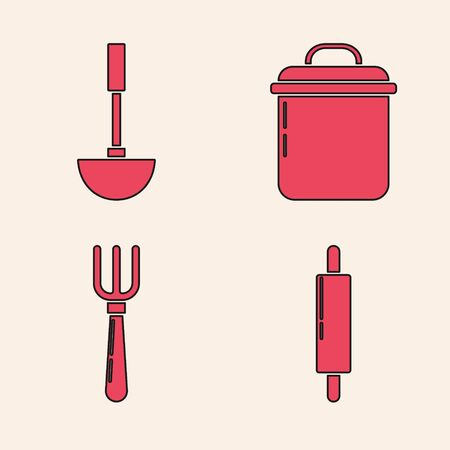 Set Rolling pin , Kitchen ladle , Cooking pot and Fork icon. Vector Illustration