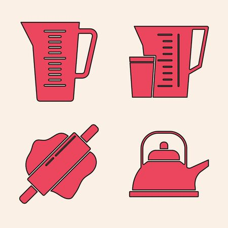 Set Kettle with handle , Measuring cup, Measuring cup and Rolling pin icon. Vector