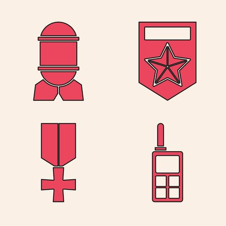 Set Walkie talkie , Aviation bomb , Chevron and Military reward medal icon. Vector