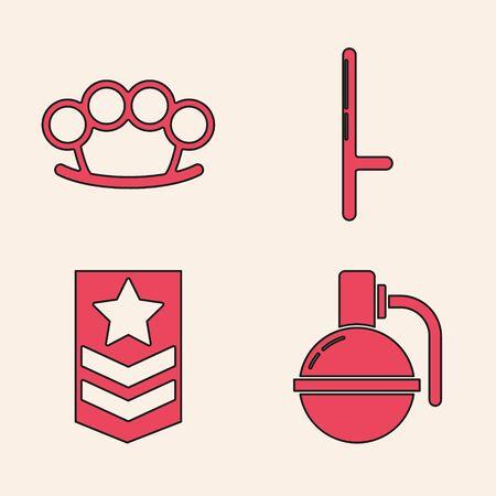 Set Hand grenade , Brass knuckles , Police rubber baton and Chevron icon. Vector