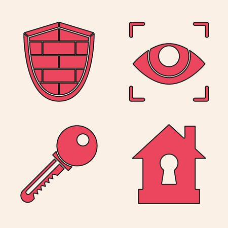 Set House under protection , Shield with cyber security brick wall , Eye scan and Key icon. Vector