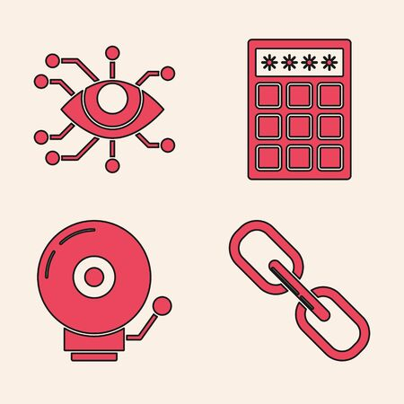 Set Chain link , Eye scan , Password protection and safety access  and Ringing alarm bell  icon. Vector