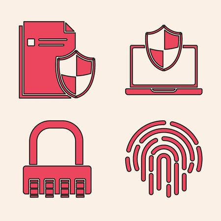 Set Fingerprint , Document protection concept , Laptop protected with shield and Safe combination lock icon. Vector