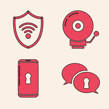 Set Protection of personal data , Shield with WiFi wireless internet network, Ringing alarm bell and Smartphone with lock icon. Vector