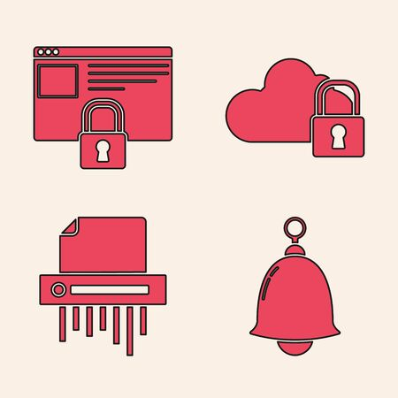 Set Ringing bell , Secure your site with HTTPS, SSL, Cloud computing lock and Paper shredder confidential icon. Vector