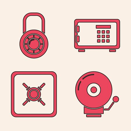 Set Ringing alarm bell , Safe combination lock wheel , Safe and Safe icon. Vector