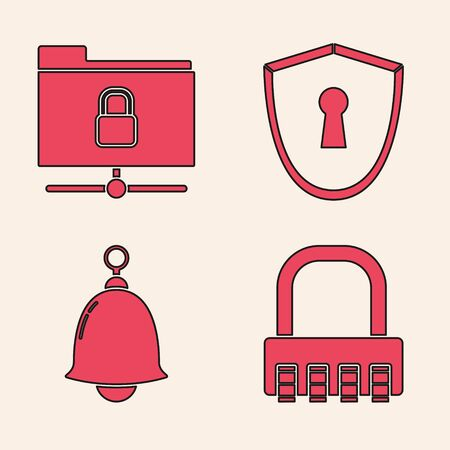 Set Safe combination lock , FTP folder and lock , Shield with keyhole and Ringing bell icon. Vector