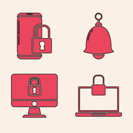 Set Laptop and lock , Smartphone with closed padlock , Ringing bell and Lock on computer monitor screen icon. Vector