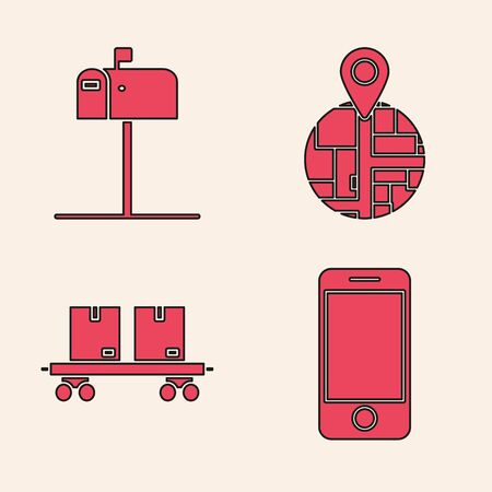 Set Mobile phone with app delivery tracking, Open mail box , Placeholder on map paper in perspective and Railway carriage icon. Vector Standard-Bild - 140069884