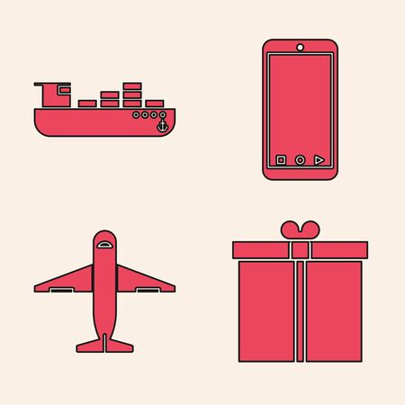 Set Gift box , Cargo ship with boxes delivery service , Mobile phone with app delivery tracking and Plane icon. Vector Illustration